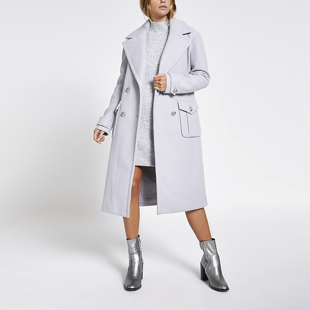Manteau utilitaire croisélong gris