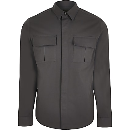 Grey double chest pocket long sleeve shirt