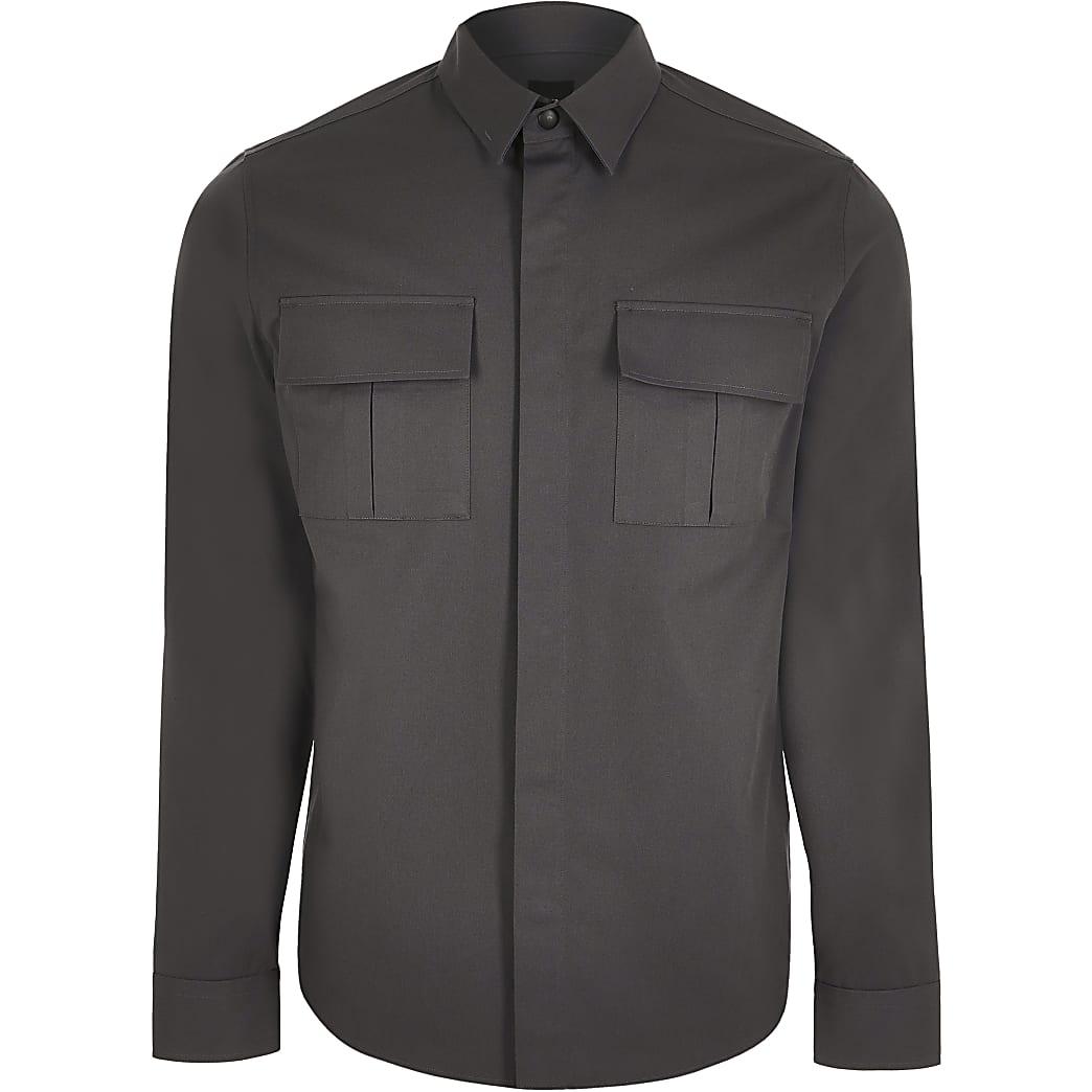 Grey double chest pocket long sleeve shirt