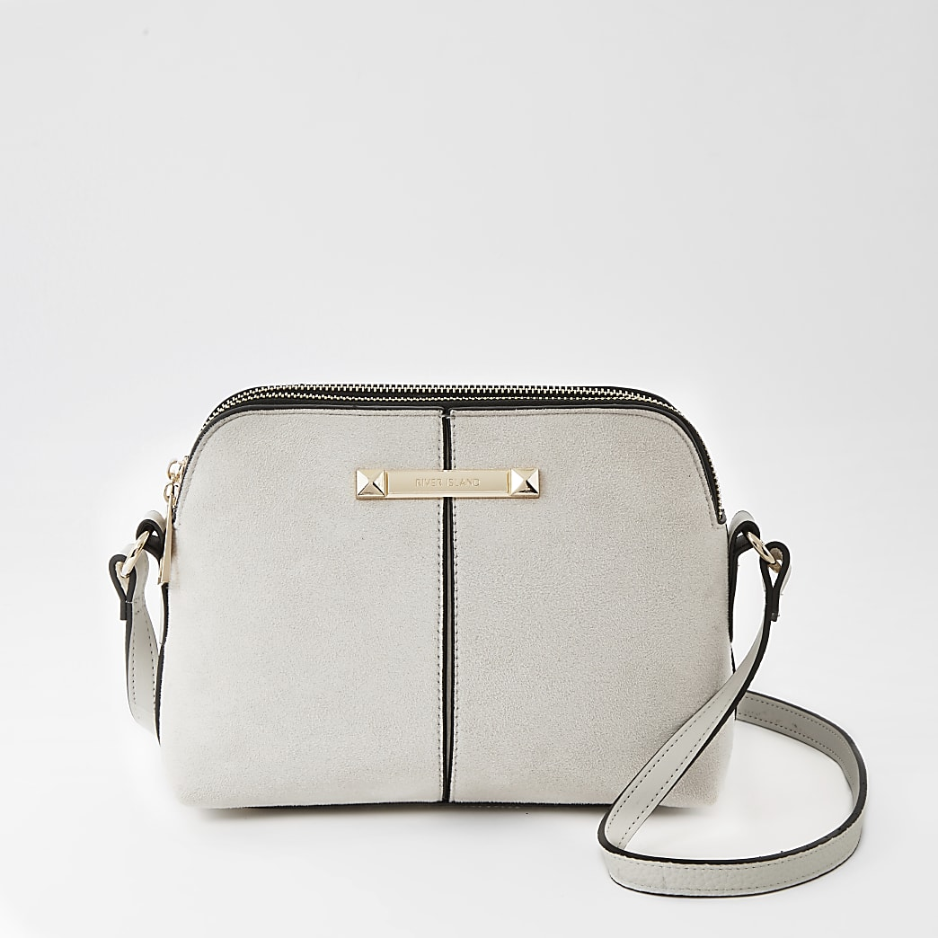 Grey double compartment cross body bag