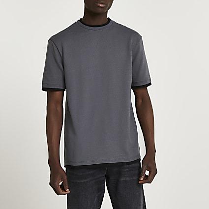 Grey double layer crew neck t-shirt
