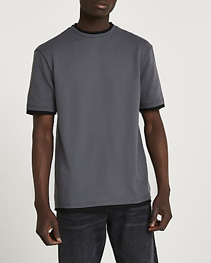 Grey double layer slim fit t-shirt