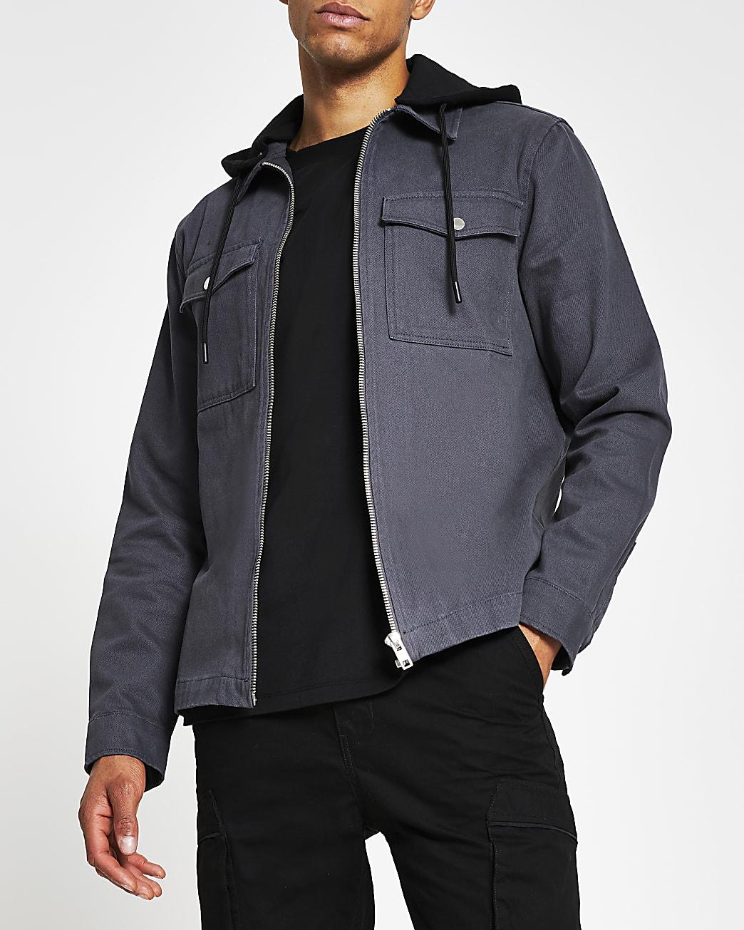 Grey double pocket hooded shacket
