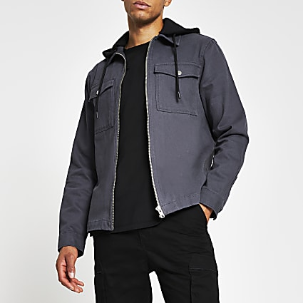 Grey double pocket hooded shacket