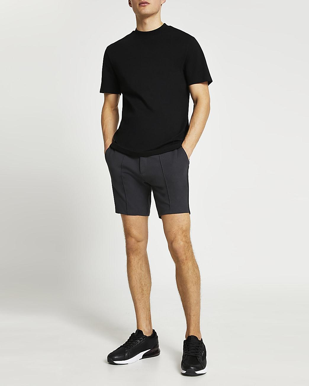 Grey drawstring skinny fit shorts