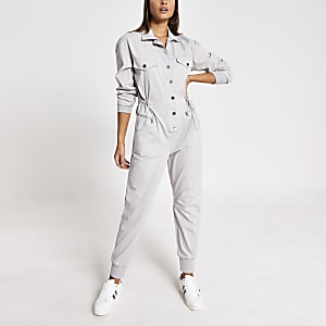 Grey drawstring waist denim boiler jumpsuit