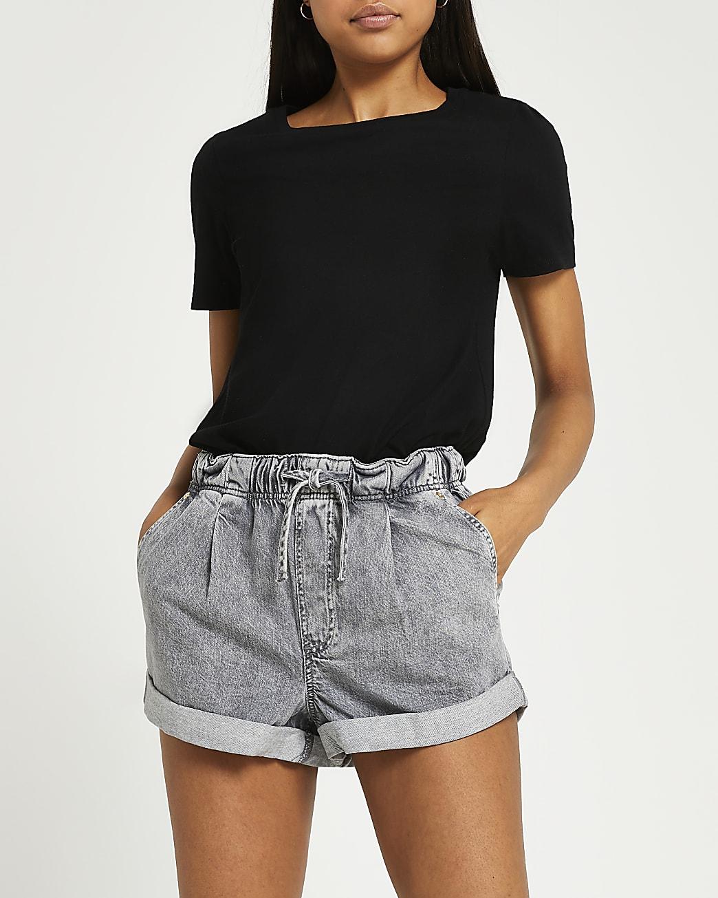 Grey drawstring waist mom shorts