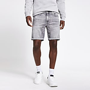 Grey Dylan slim fit denim shorts