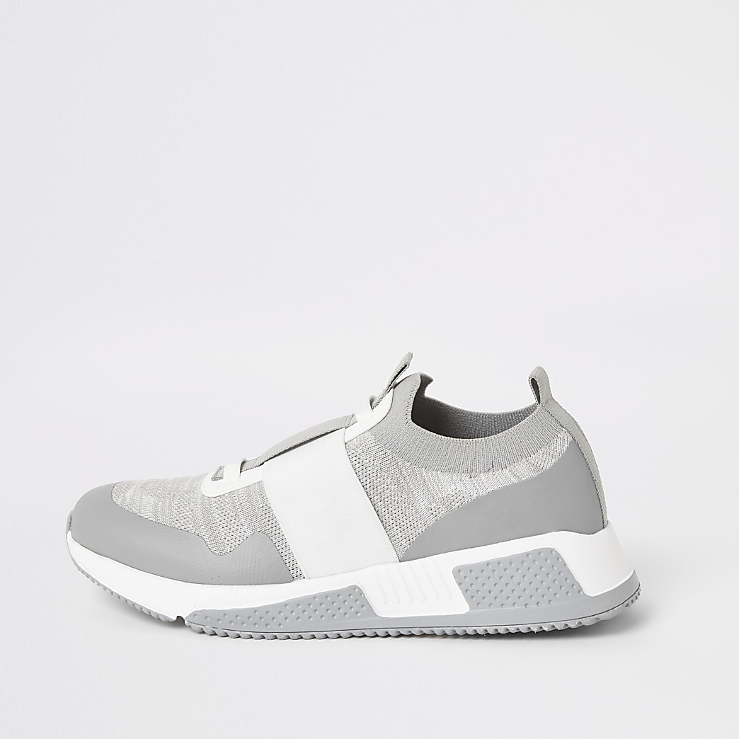 Grey elasticated knitted runner trainers