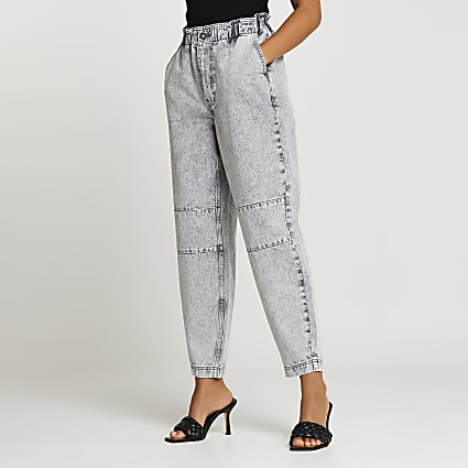 Grey elasticated waist tapered jeans