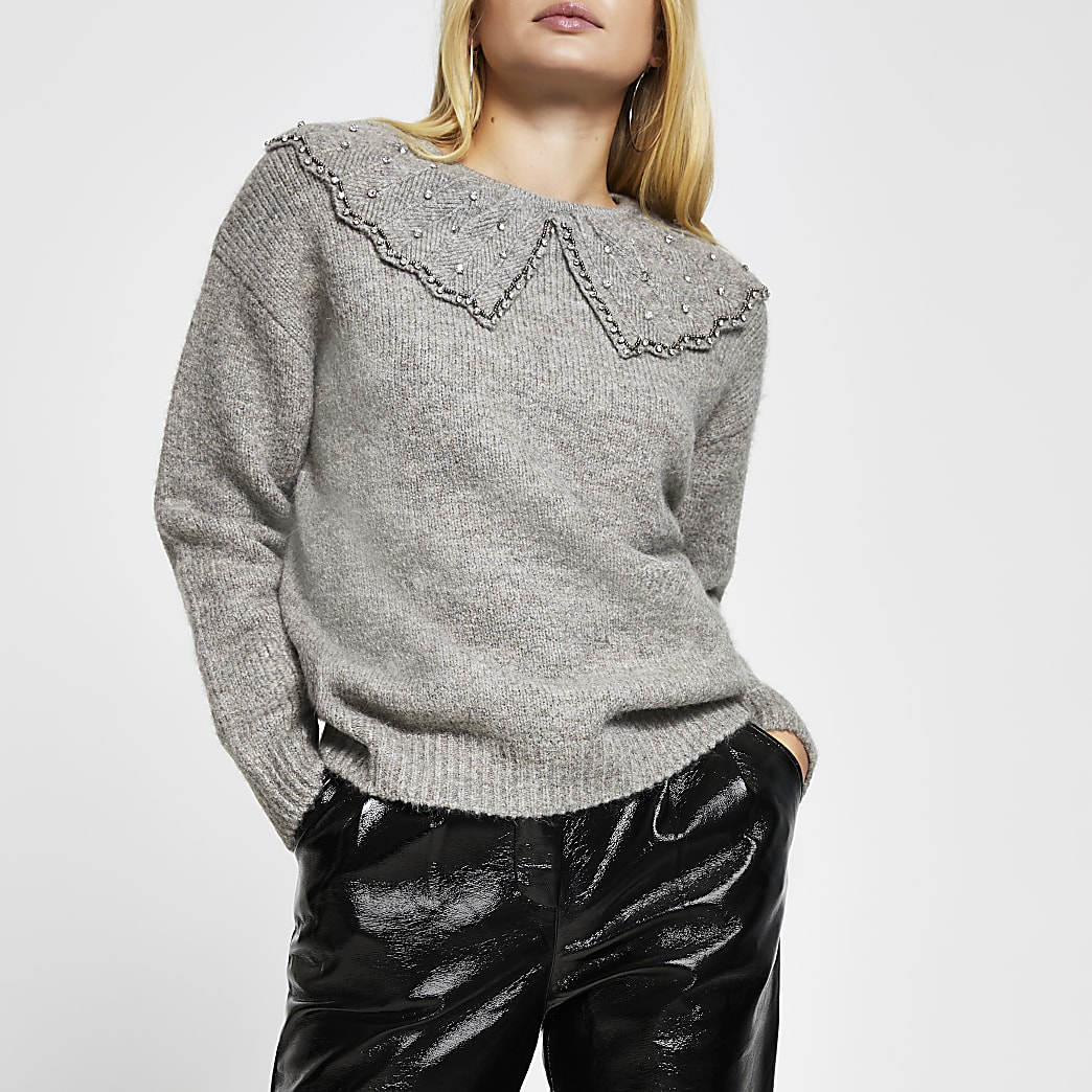 Grey embellished collar jumper