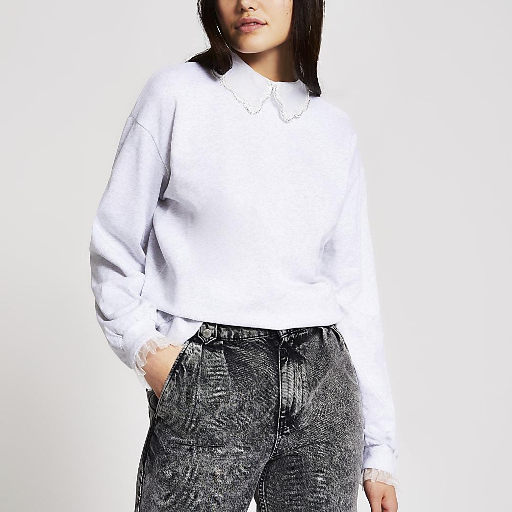 Grey embellished collar sweatshirt