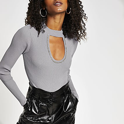 Grey embellished cut out knit top