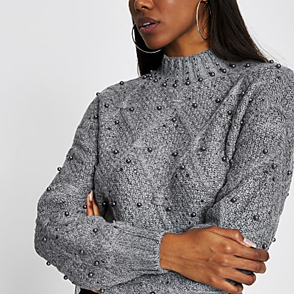 Grey embellished diamante long sleeve jumper
