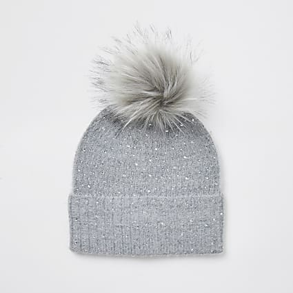 Grey embellished faux fur pom pom beanie hat