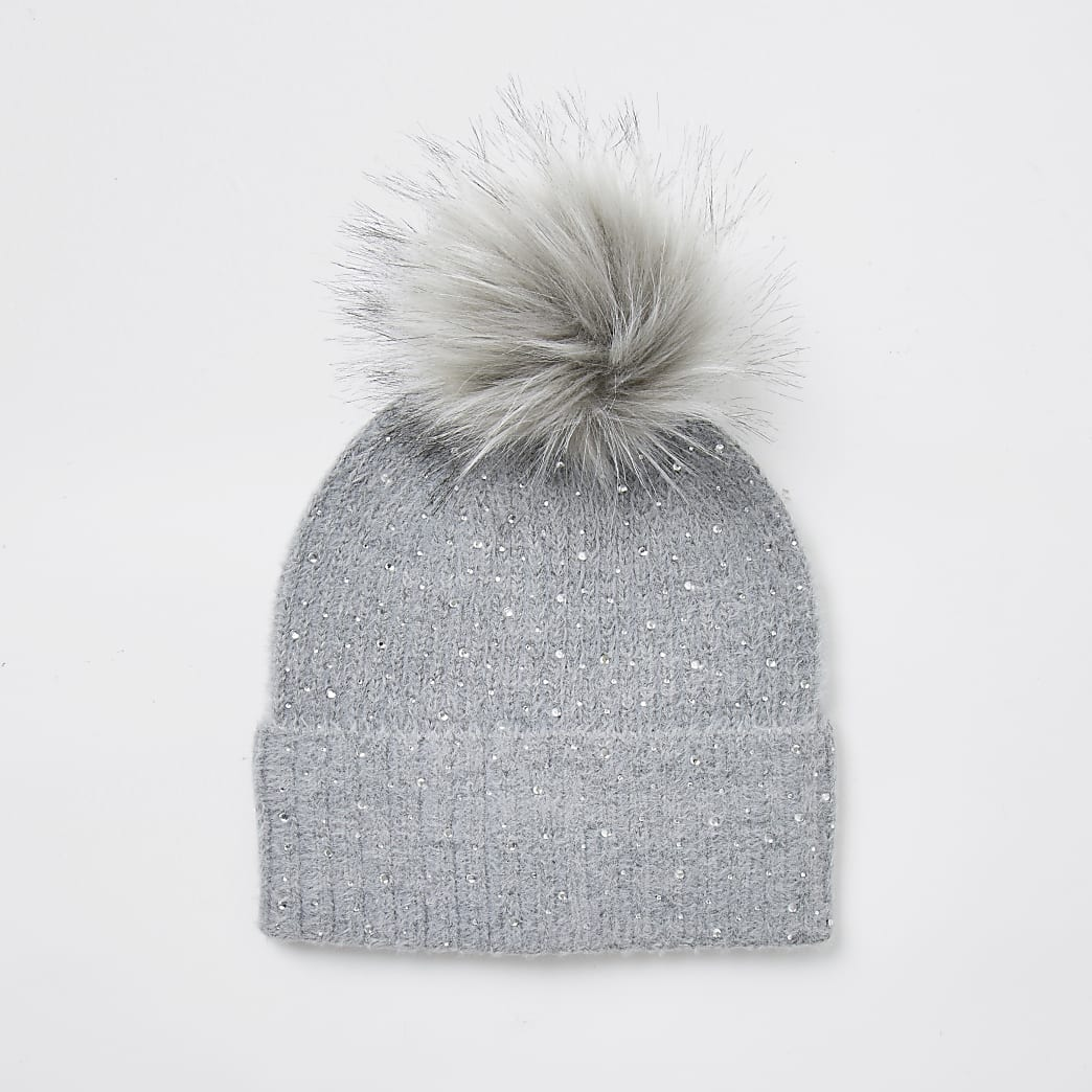 Grey embellished faux fur pom pom beanie hat