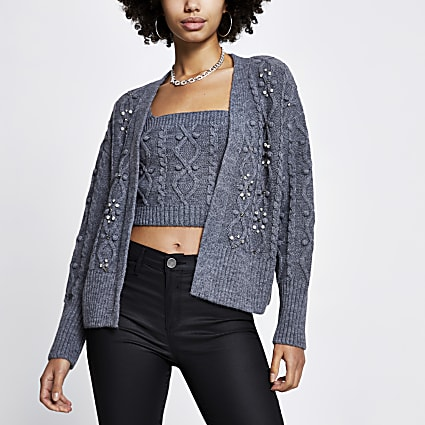 Grey embellished knit cardigan and bralet set