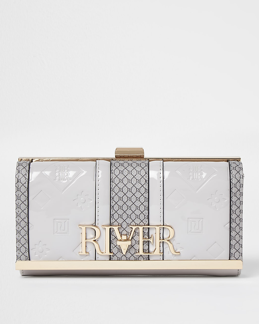 Grey embossed clip top purse