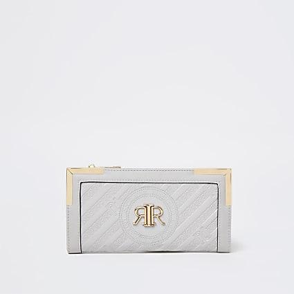 Grey embossed purse