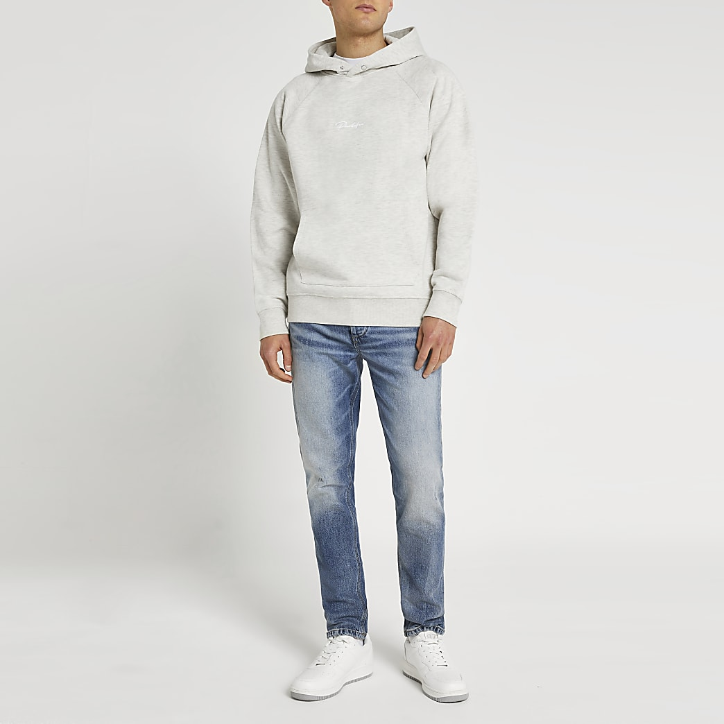 Grey embroidered back graphic hoodie