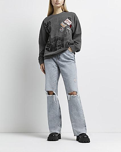 Grey embroidered badge sweatshirt