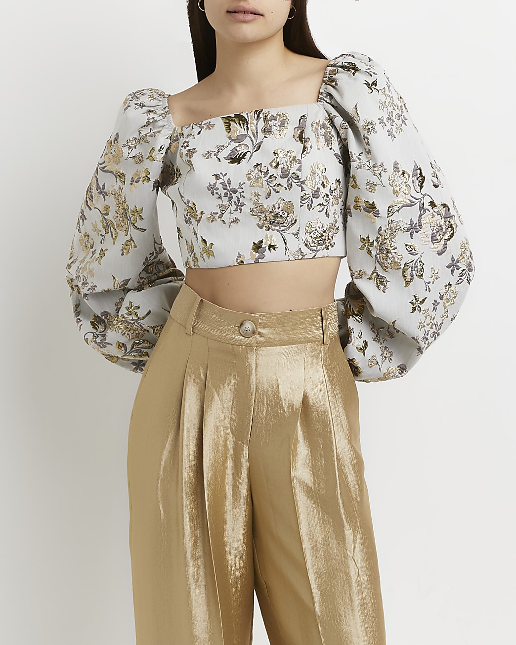 Grey embroidered floral crop top
