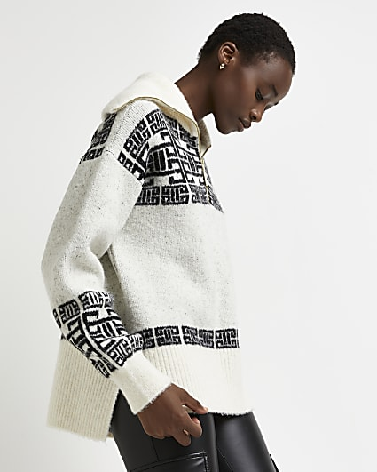Grey fairisle half zip jumper