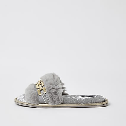 Grey faux fur open toe slippers