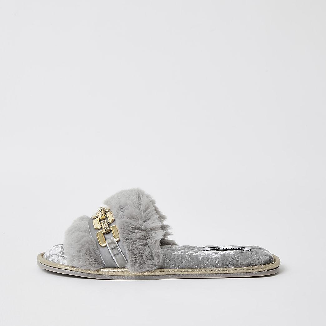 Grey faux fur open toe slippers