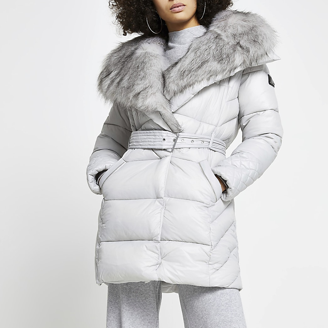 Grey faux fur padded longline coat
