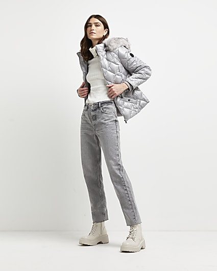 Grey faux fur quilted coat