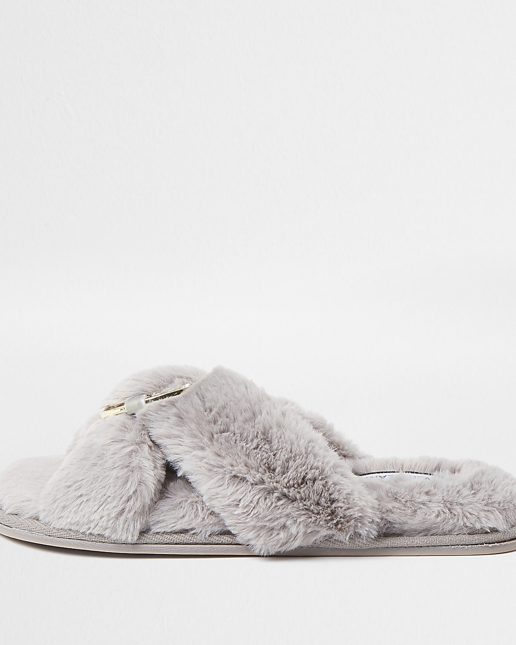 Grey faux fur ring crossover slippers