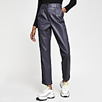 Grey faux Leather high waist peg trousers