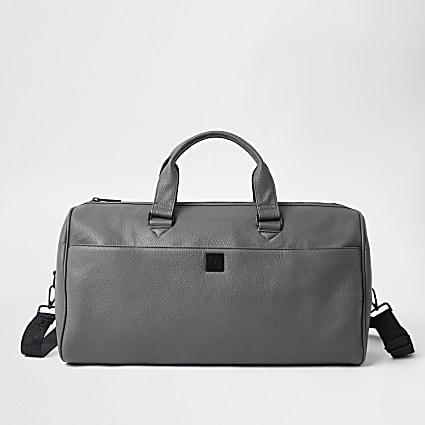 Grey faux leather holdall