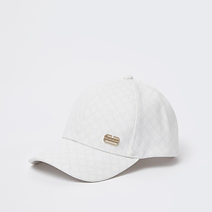 Grey faux leather monogram cap