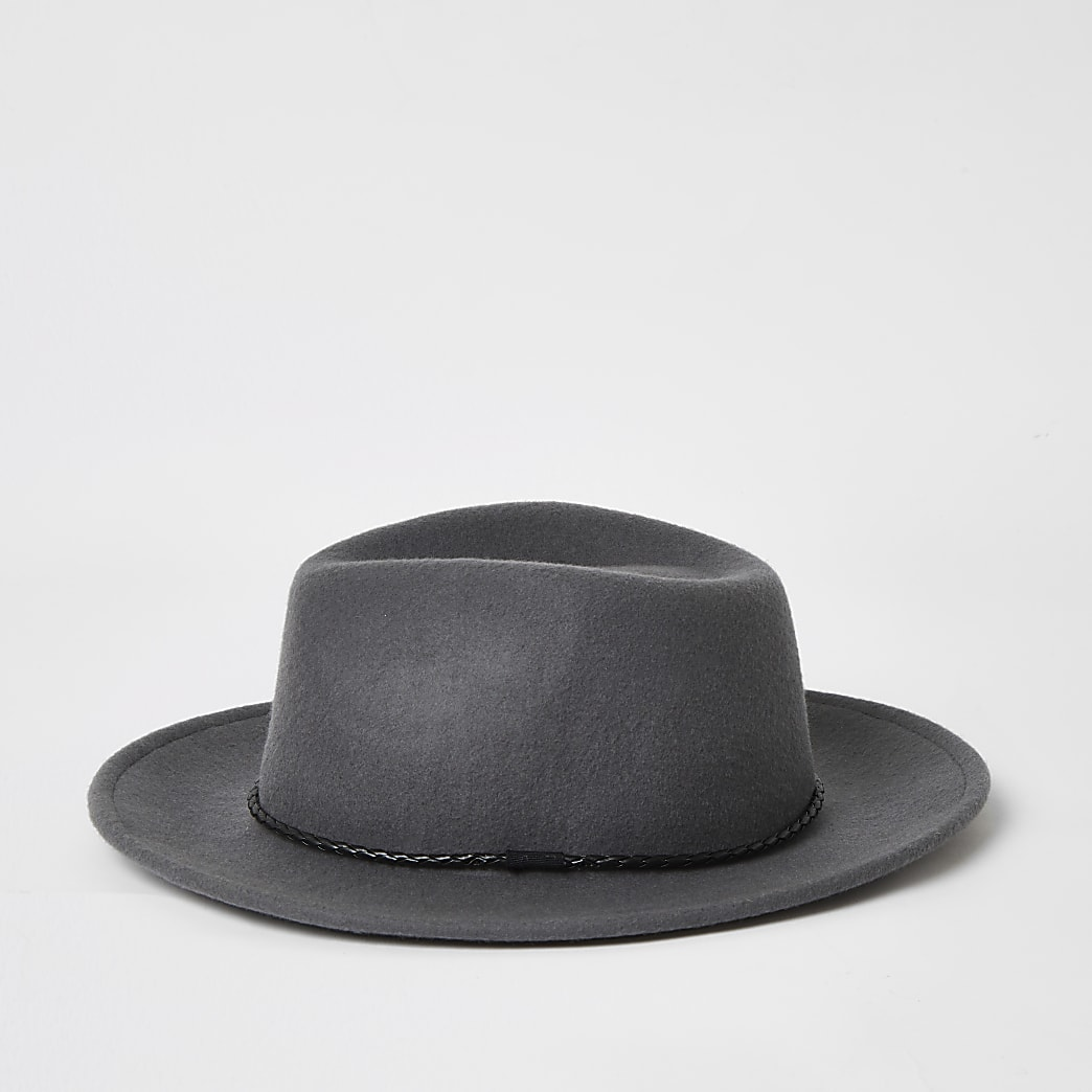 Grey faux leather rope trim Fedora hat