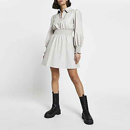 Grey faux leather shirred waist shirt dress