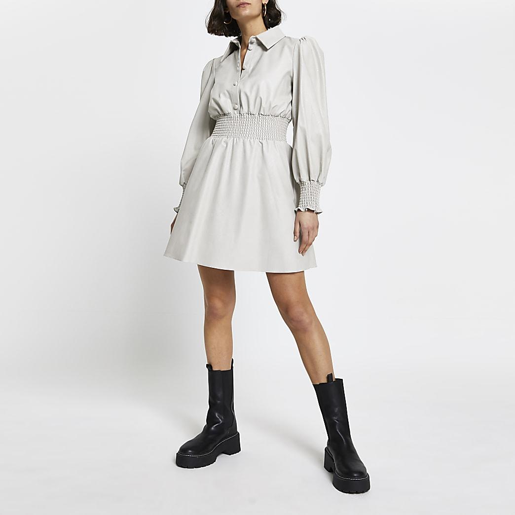 Grey faux leather shirred waist shirt dress