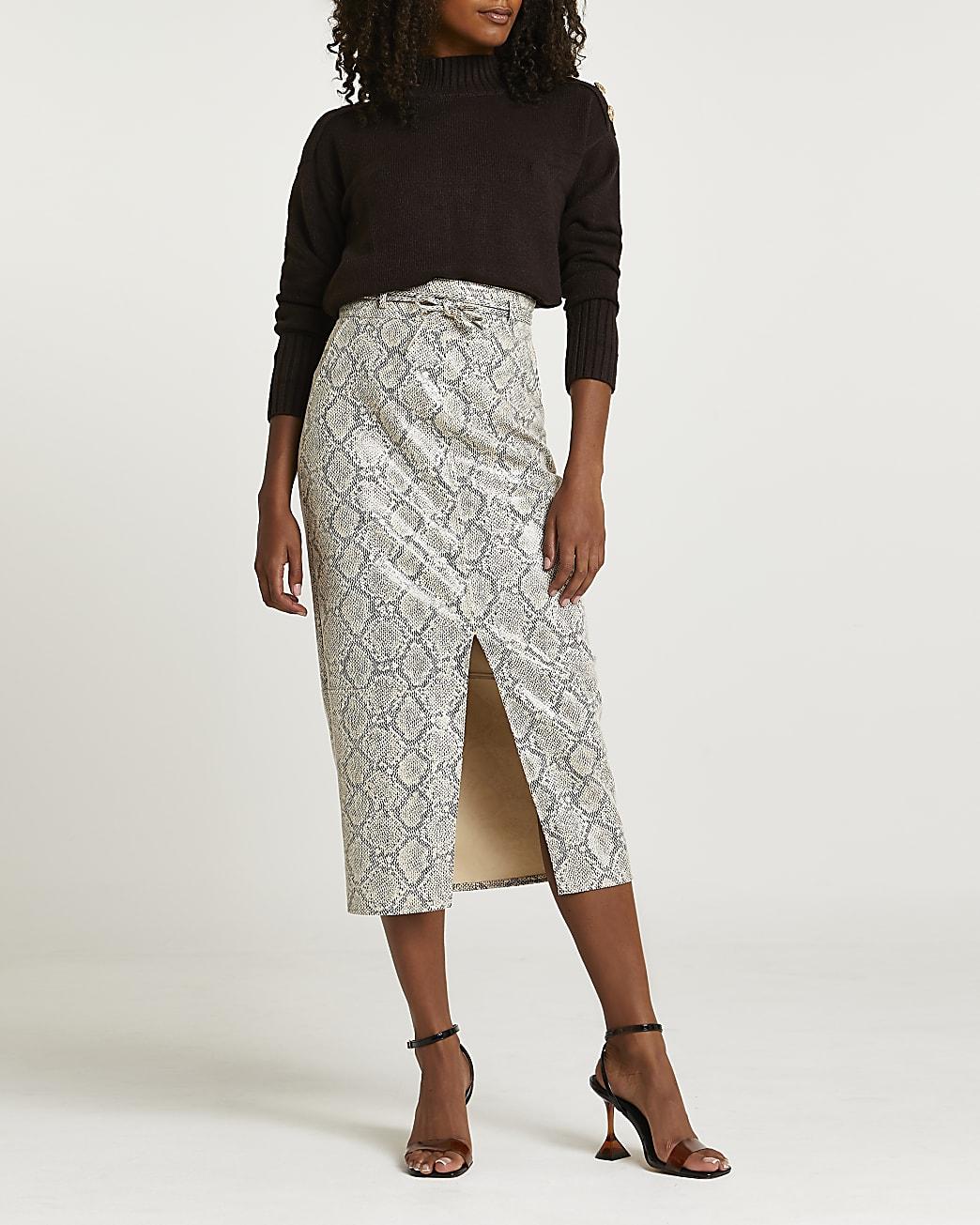 Grey faux leather snake print midi skirt