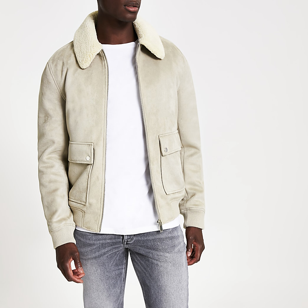 Grey faux suede borg collar jacket | River Island