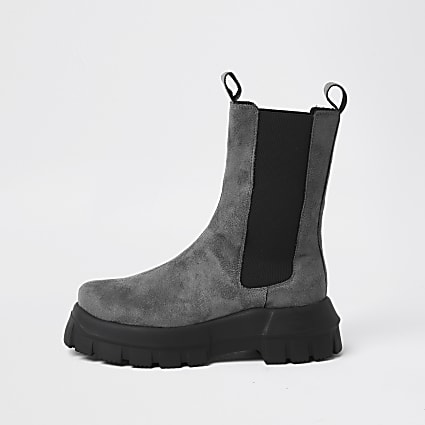 Grey faux suede chunky flat chelsea boot