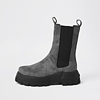 Grey faux suede chunky flat chelsea boots