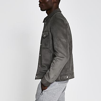 Grey faux suede western jacket