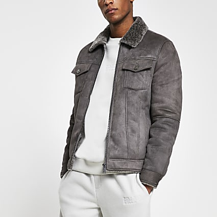 Grey faux suede zip western jacket
