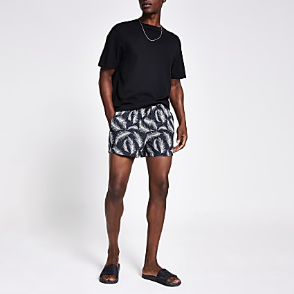 Grey feather printed swim shorts