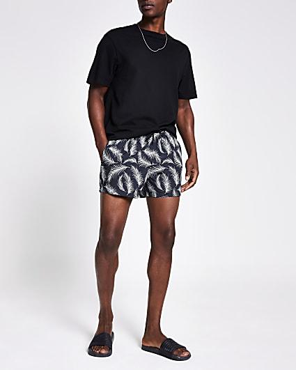Grey feather printed swim shorts