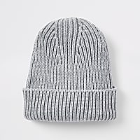 Grey fisherman knit beanie hat