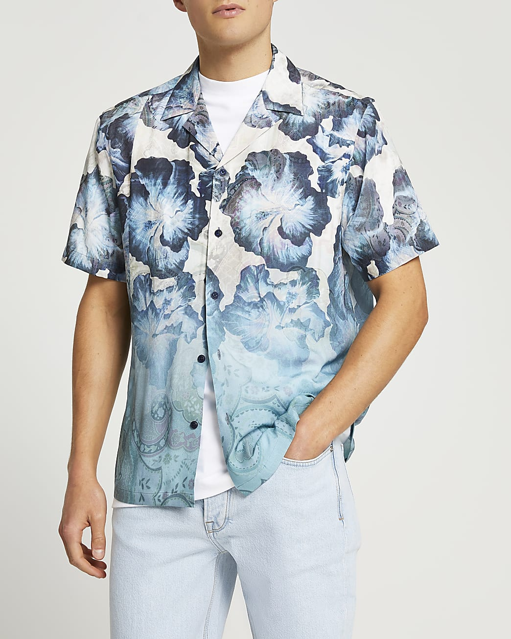 Grey floral fade print short sleeve shirt