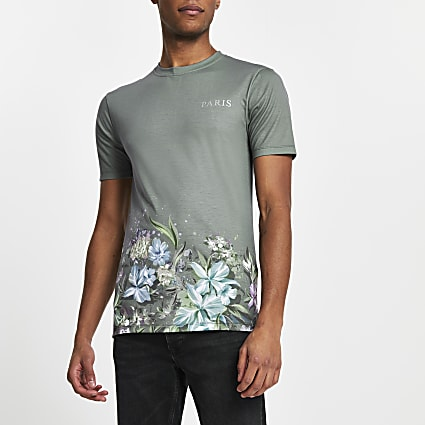 Grey floral 'Paris' muscle fit t-shirt