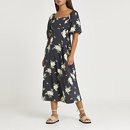 Grey floral print midi dress